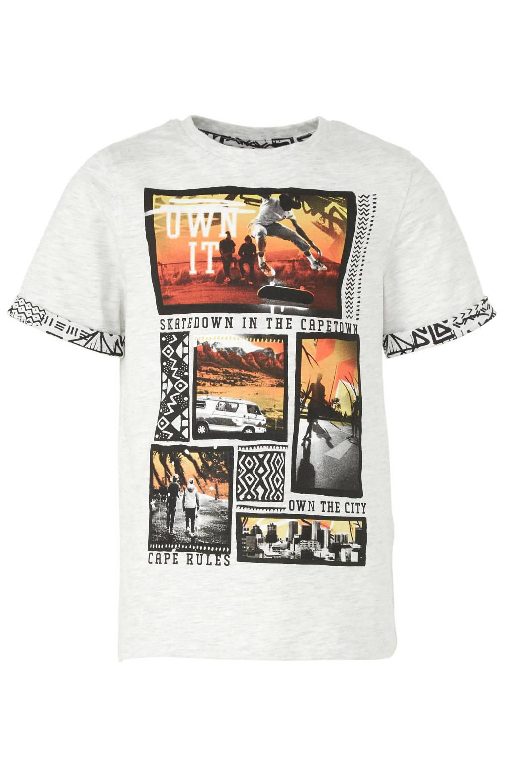 C&A Here & There T-shirt met printopdruk grijs, Lichtgrijs melange