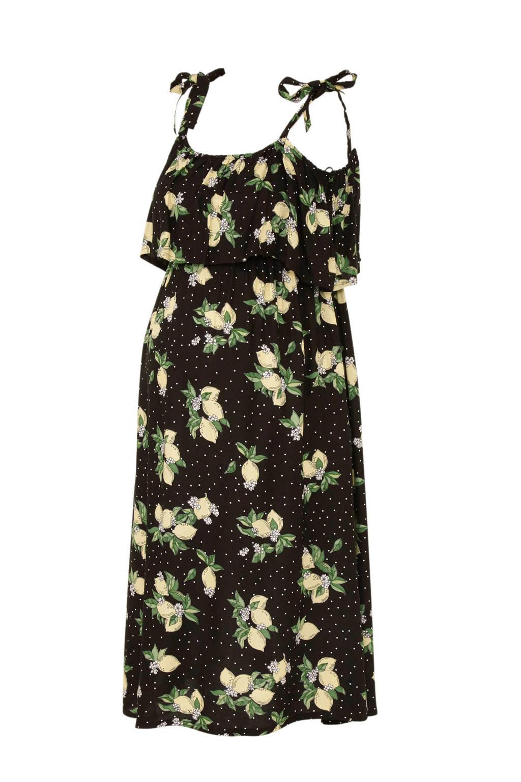 C&A Yessica zwangerschap + voeding open shoulder jurk met fruitprint en volant zwart, Zwart