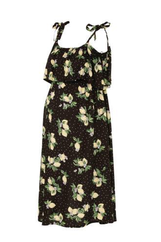ce4a47fac3055e Yessica zwangerschap + voeding open shoulder jurk met fruitprint en volant  zwart