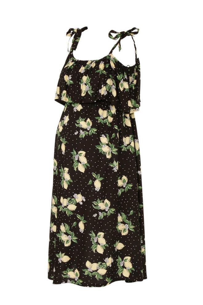 4745946e2cb7e3 Yessica zwangerschap + voeding open shoulder jurk met fruitprint en volant  zwart