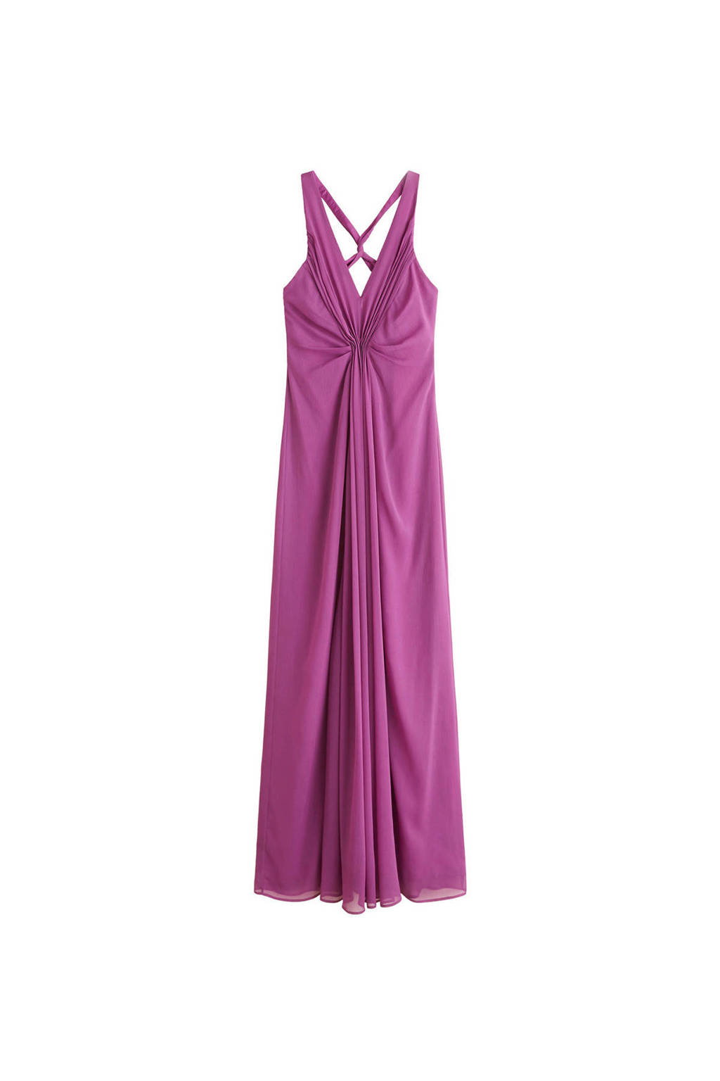 Mango chiffon maxi jurk paars, Paars
