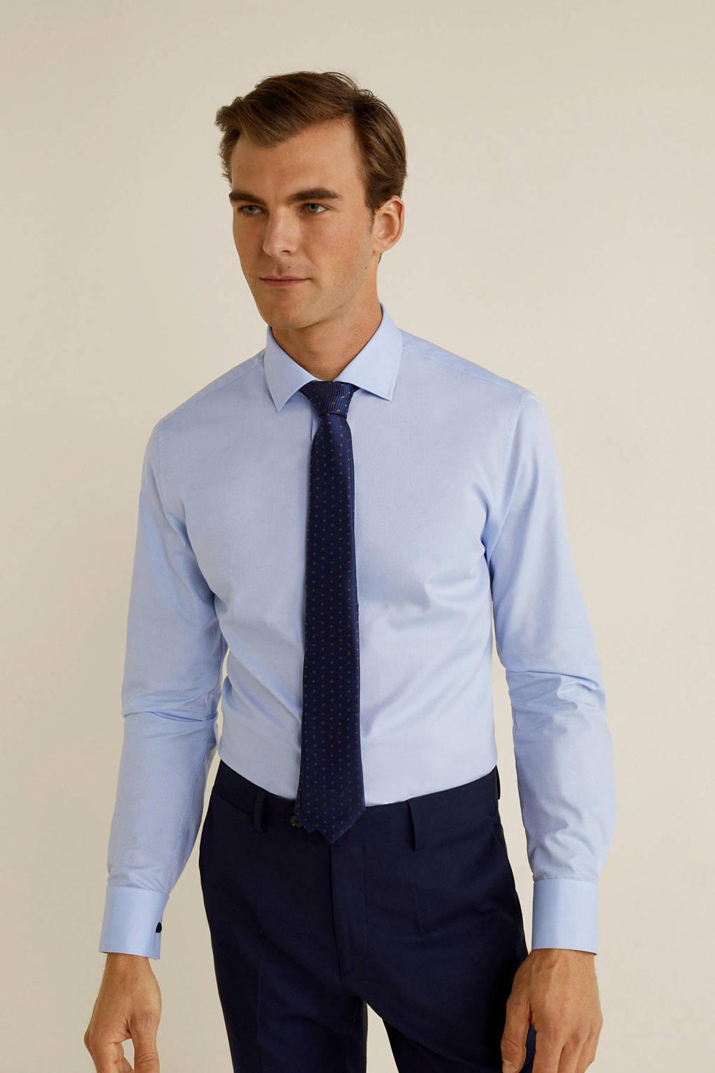 Mango Man slim fit overhemd met textuur, Lichtblauw