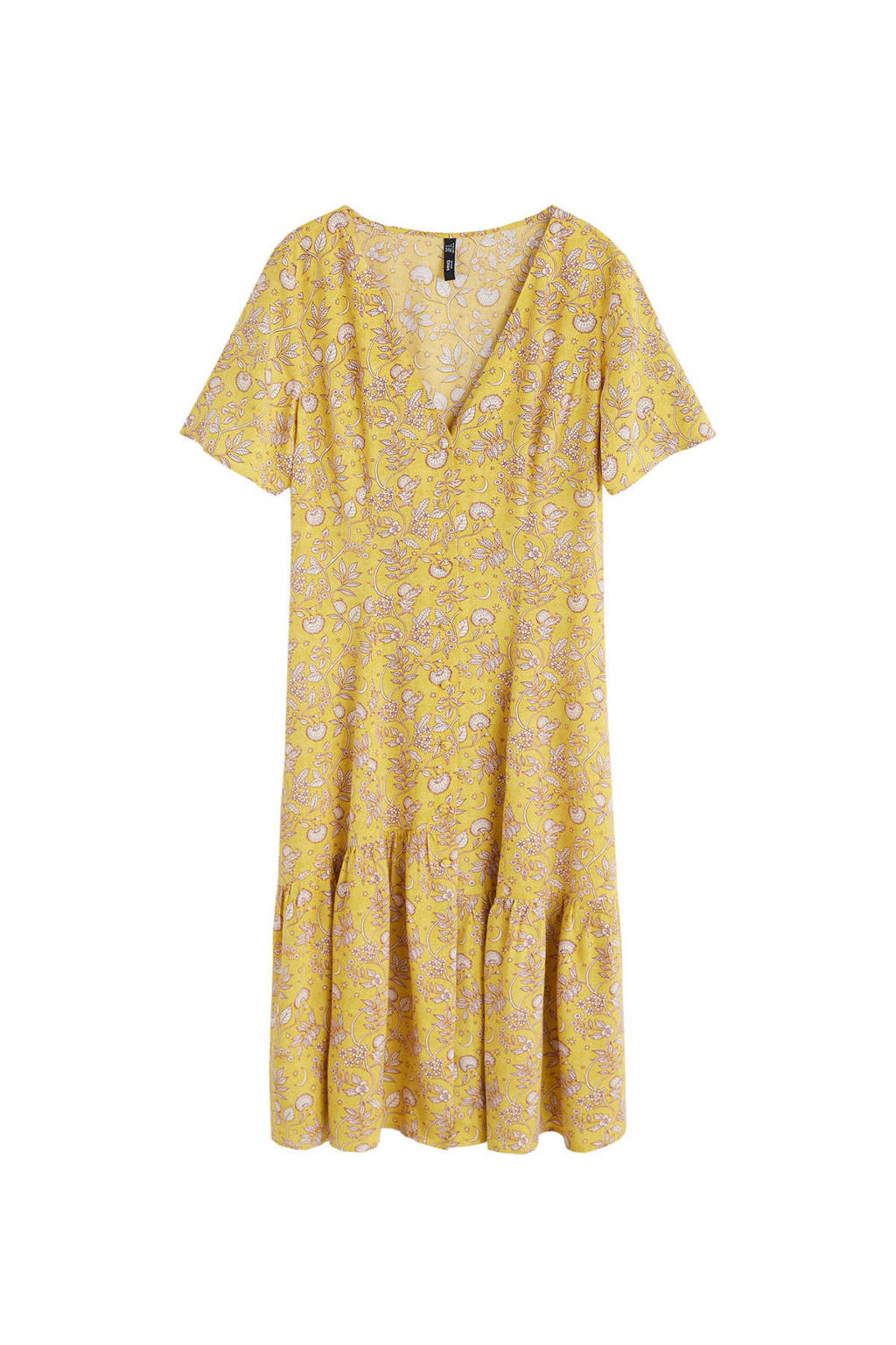 Mango jurk met all over print geel, Geel