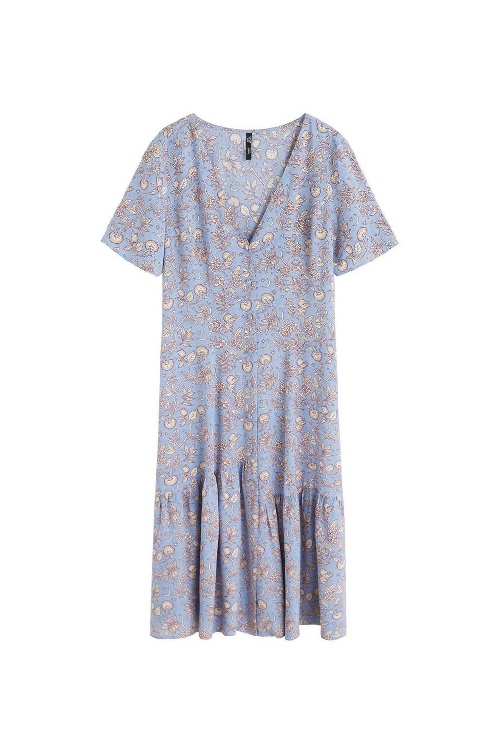 Mango jurk met all over print lichtblauw, Lichtblauw