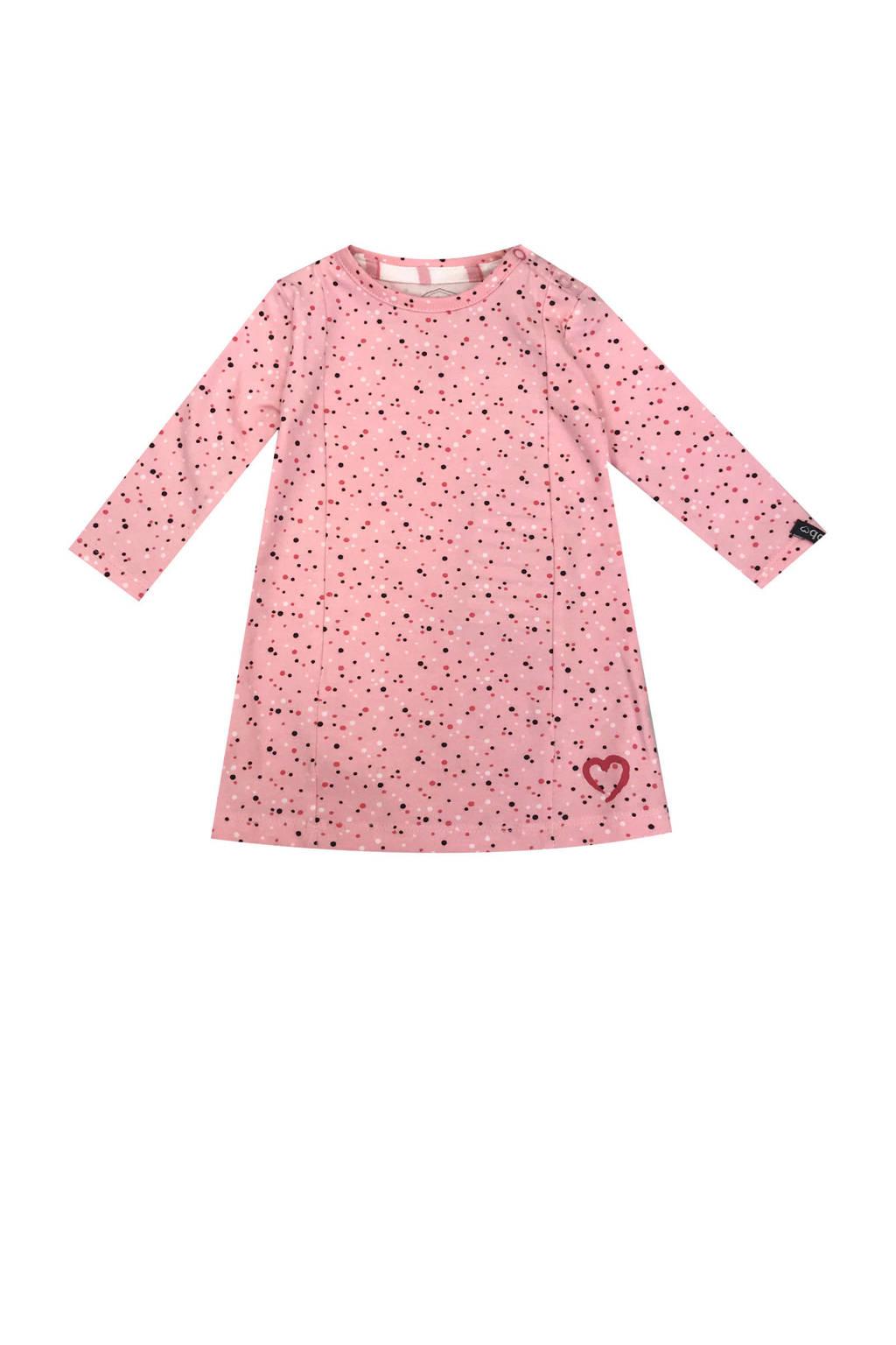 Beebielove jurk met all over stippenprint roze, Roze