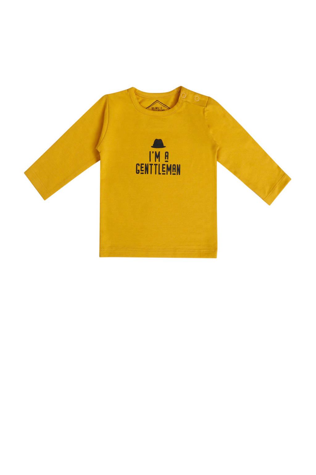 Beebielove longsleeve met tekst geel, Geel