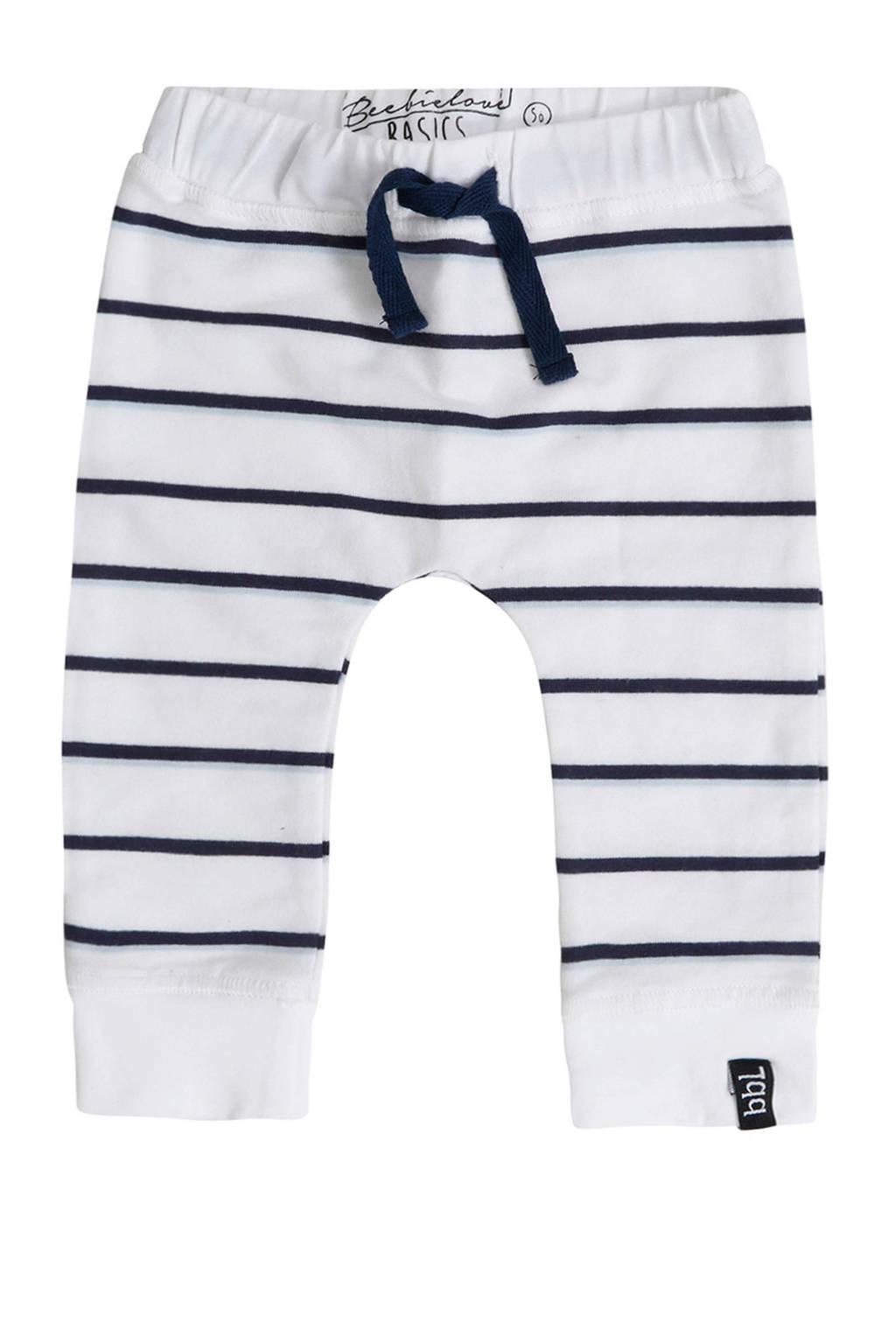 Beebielove gestreepte broek wit/blauw, Wit/blauw