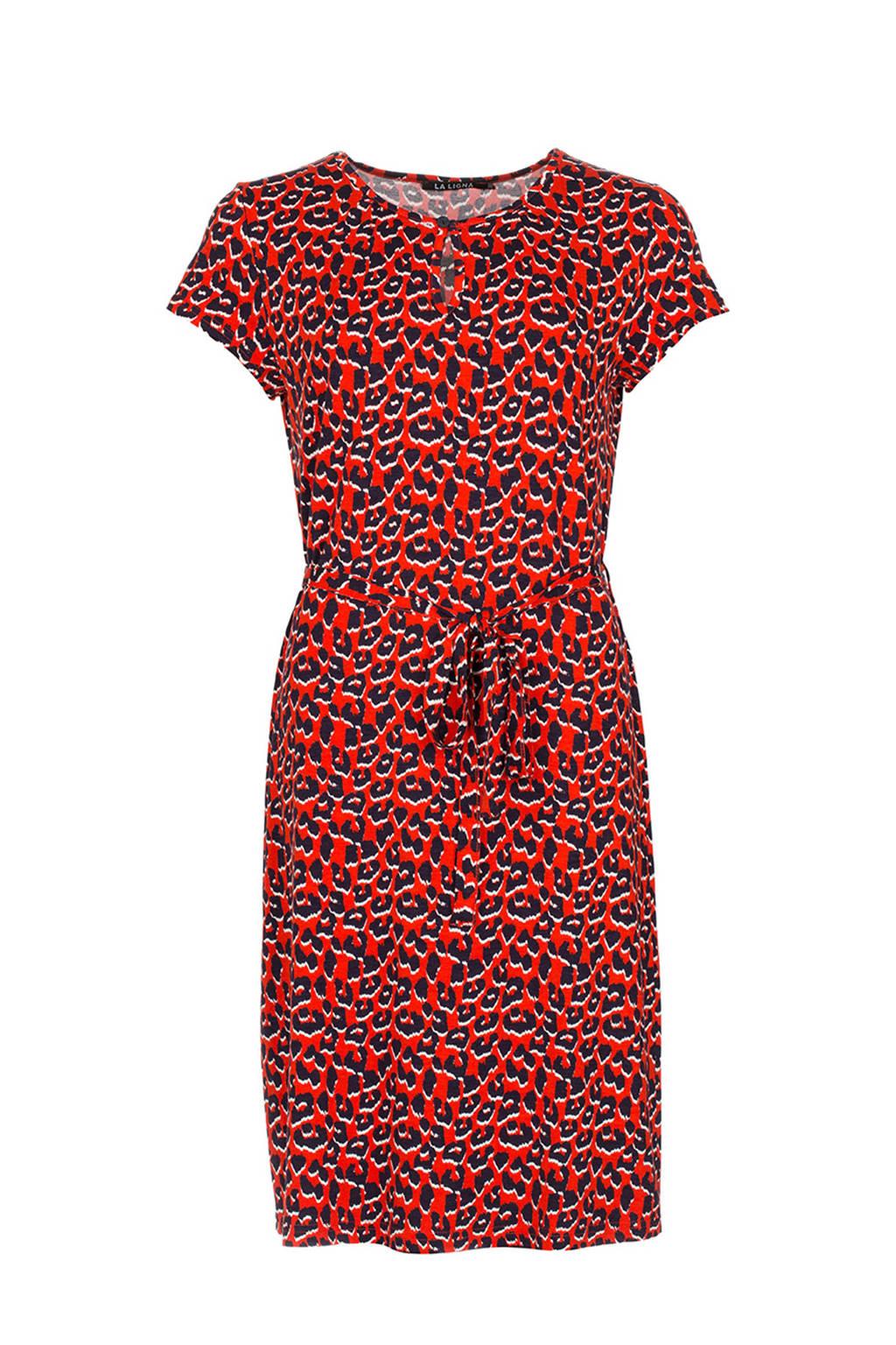 La Ligna jurk met panterprint Marsha, Rood