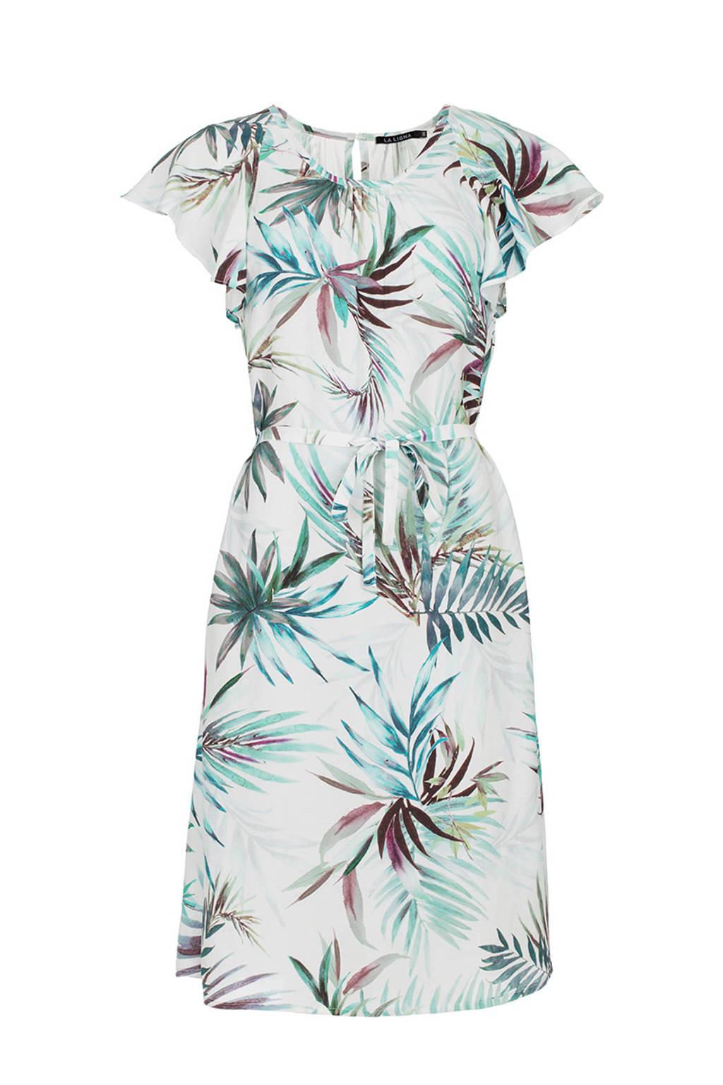 La Ligna Mylene jurk met strikceintuur, Ecru/groen/blauw