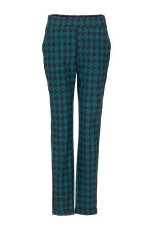 tapered fit broek van travelstof groen/zwart