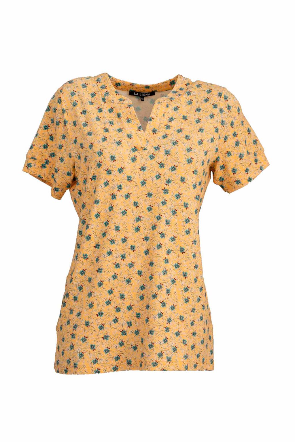 La Ligna gebloemd T-shirt geel, Geel