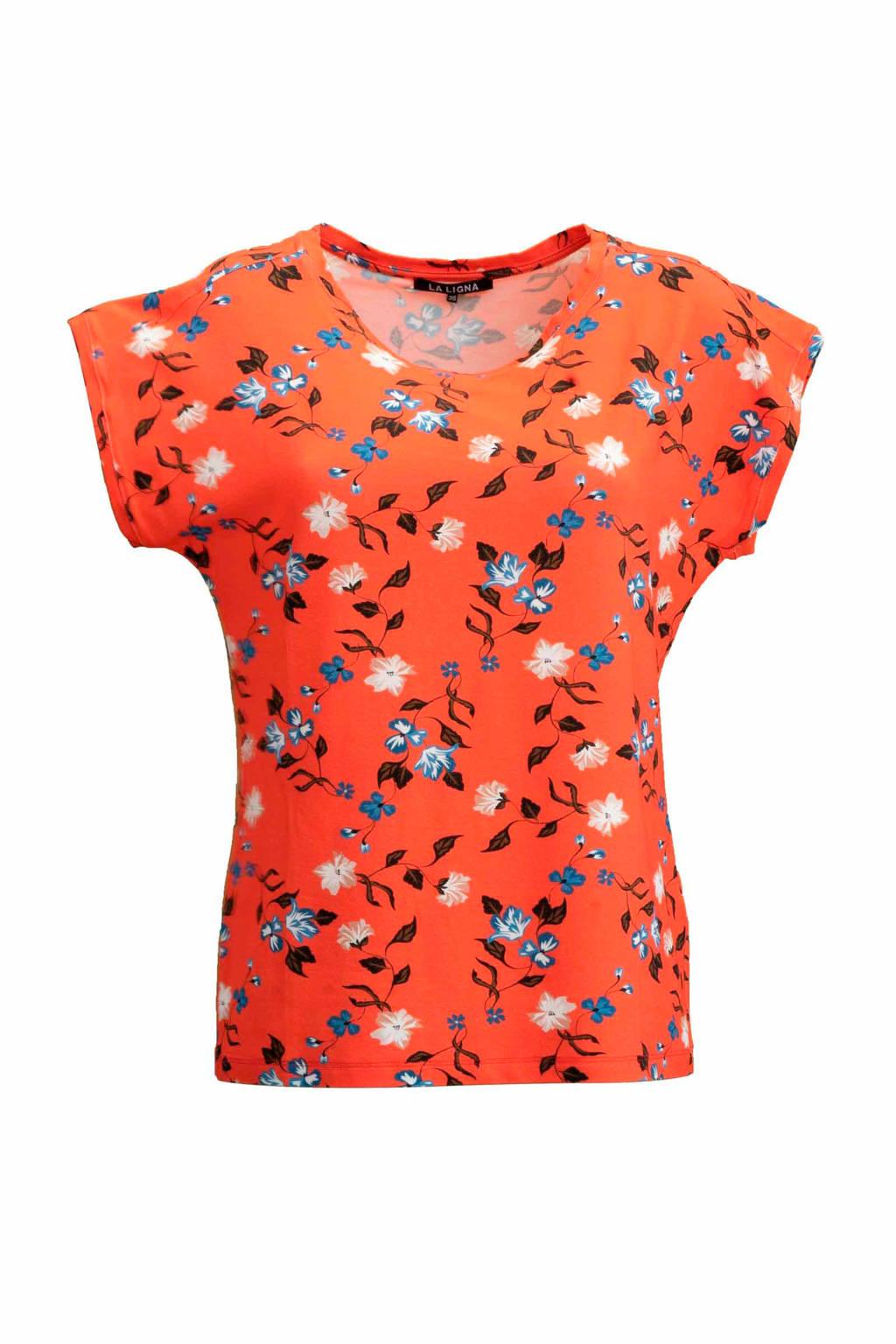 La Ligna gebloemd T-shirt oranje, Oranje