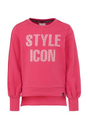 sweater met contrastbies felroze