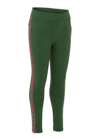 super skinny broek met zijstreep groen/rood/wit