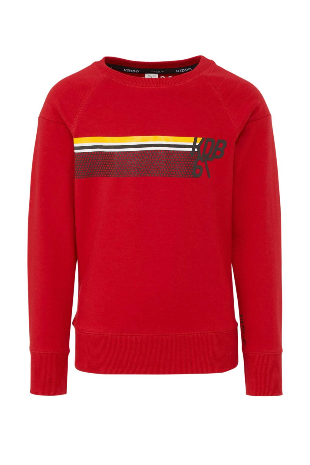 KIDDO sweater met printopdruk rood, Rood