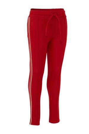 skinny broek met zijstreep rood