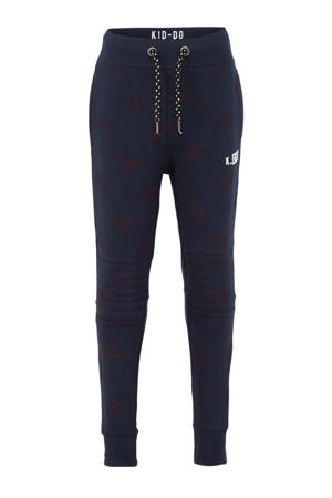 skinny joggingbroek met all over print donkerblauw