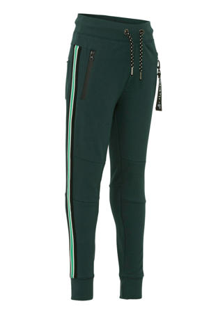 regular fit joggingbroek met zijstreep donkergroen