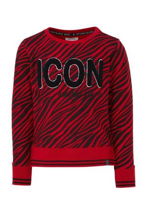 sweater met zebraprint en pailletten rood