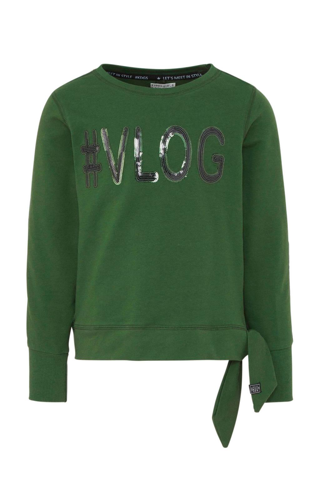 KIDDO sweater met contrastbies en pailletten groen, Groen