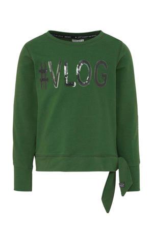 sweater met contrastbies en pailletten groen