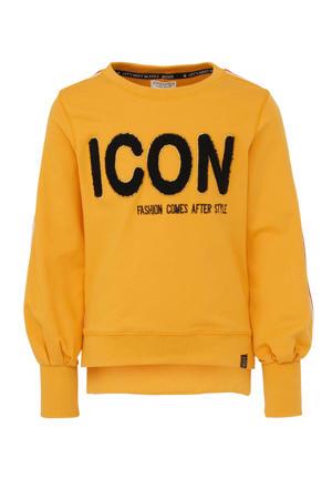 sweater met contrastbies en borduursels geel/rood/wit