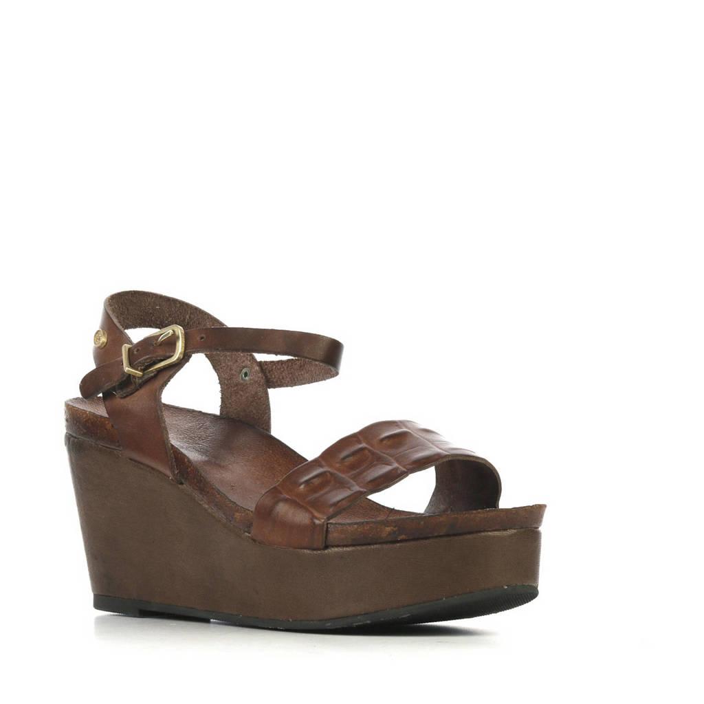 Fred de la Bretoniere 170010073 leren sandalettes donkerbruin, Donkerbruin