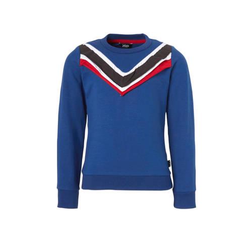 Little Miss Juliette sweater met ruches blauw/rood