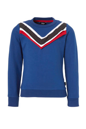 sweater met ruches blauw/rood/wit
