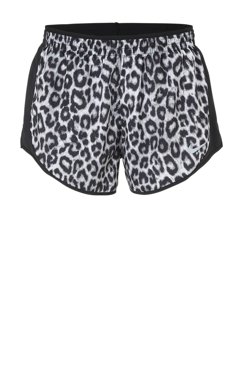Nike hardloopshort panterprint, Zwart/wit