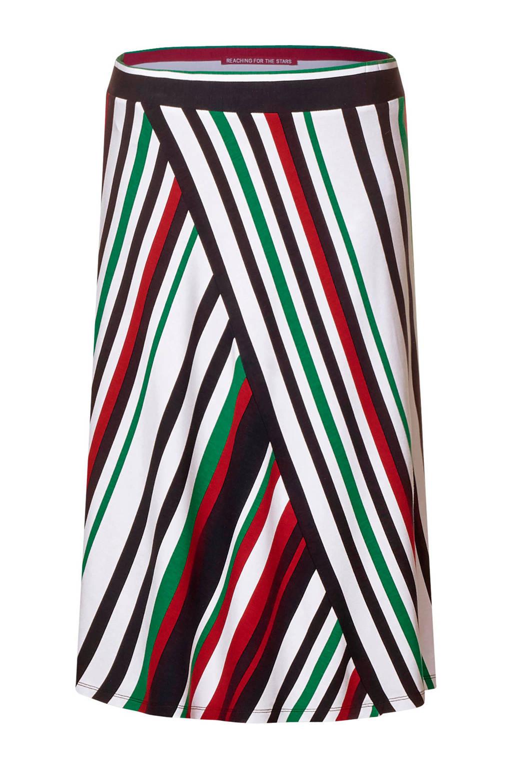 Street One gestreepte rok, Wit/donkerblauw/rood/groen
