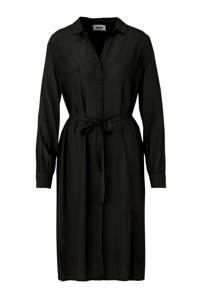 Modström blousejurk met strikceintuur zwart, Zwart