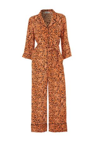 gebloemde jumpsuit River oranje/zwart