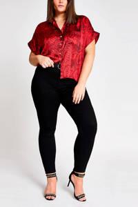 River Island Plus blouse met slangenprint rood/zwart, Rood/zwart