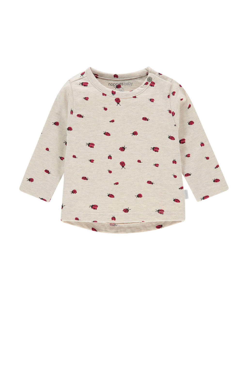 Noppies baby longsleeve Cary met dierenprint off white, Off White
