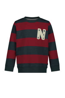 Noppies gestreepte sweater Acton rood/donkerblauw