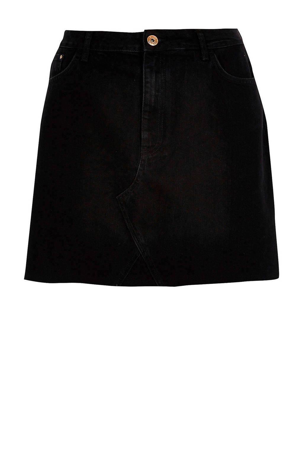 River Island Plus spijkerrok met rafels zwart, Zwart