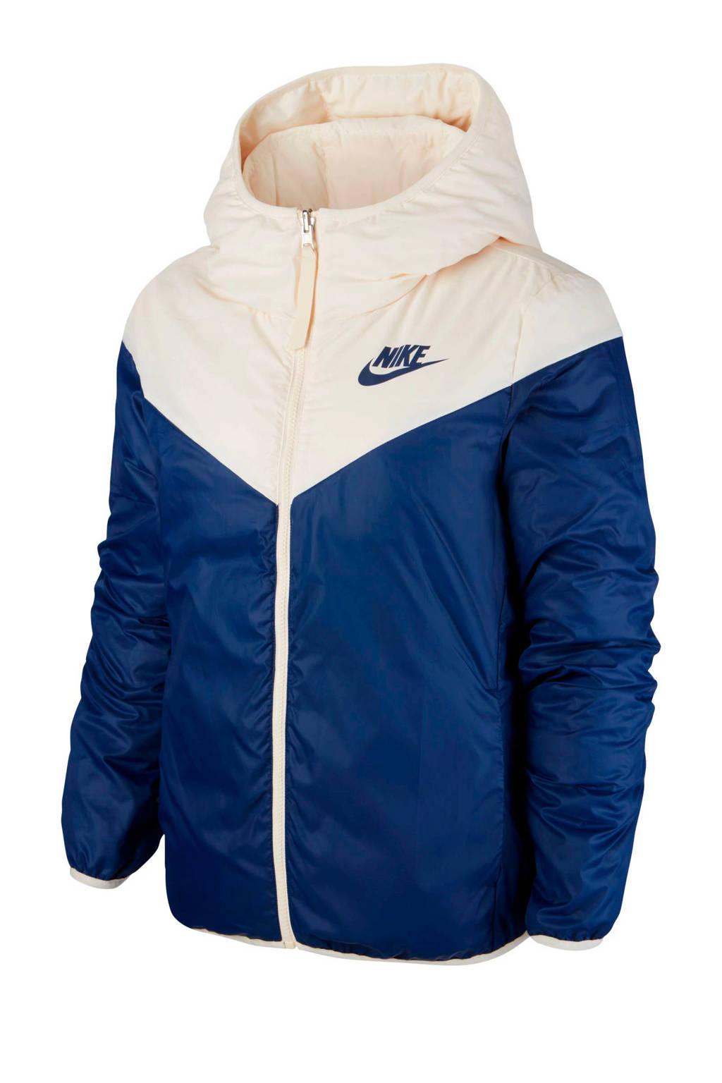Nike jas reversible wit/blauw, Wit/blauw