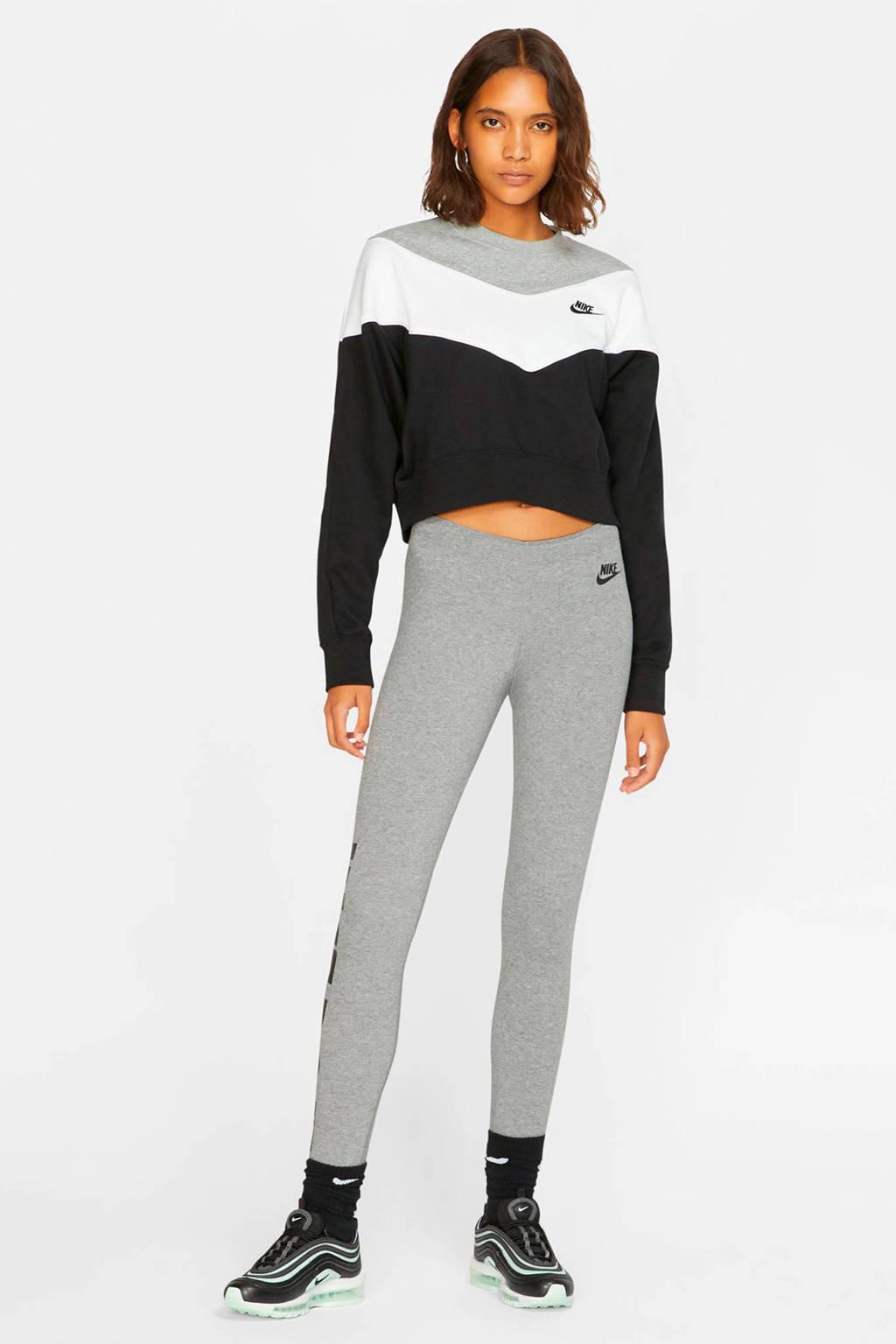 Nike cropped sweater zwart, Zwart/wit/grijs
