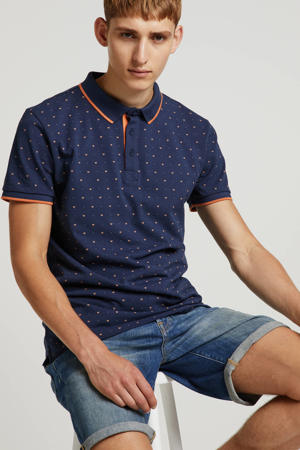 regular fit polo met all over print donkerblauw