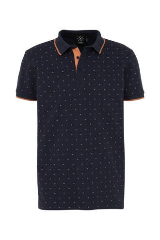 polo met all over print donkerblauw