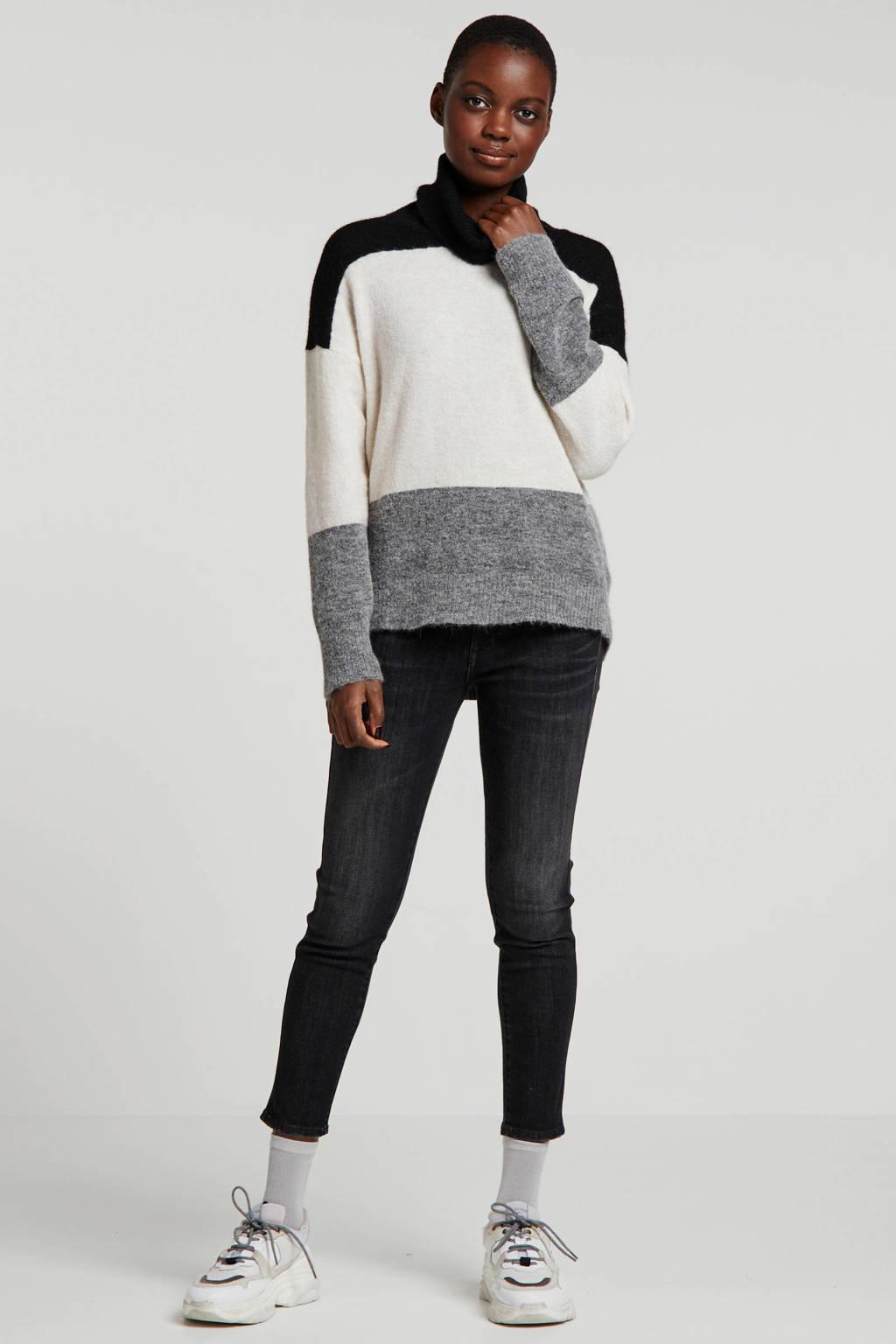 Part Two coltrui met wol zwart/ecru/grijs, Zwart/ecru/grijs