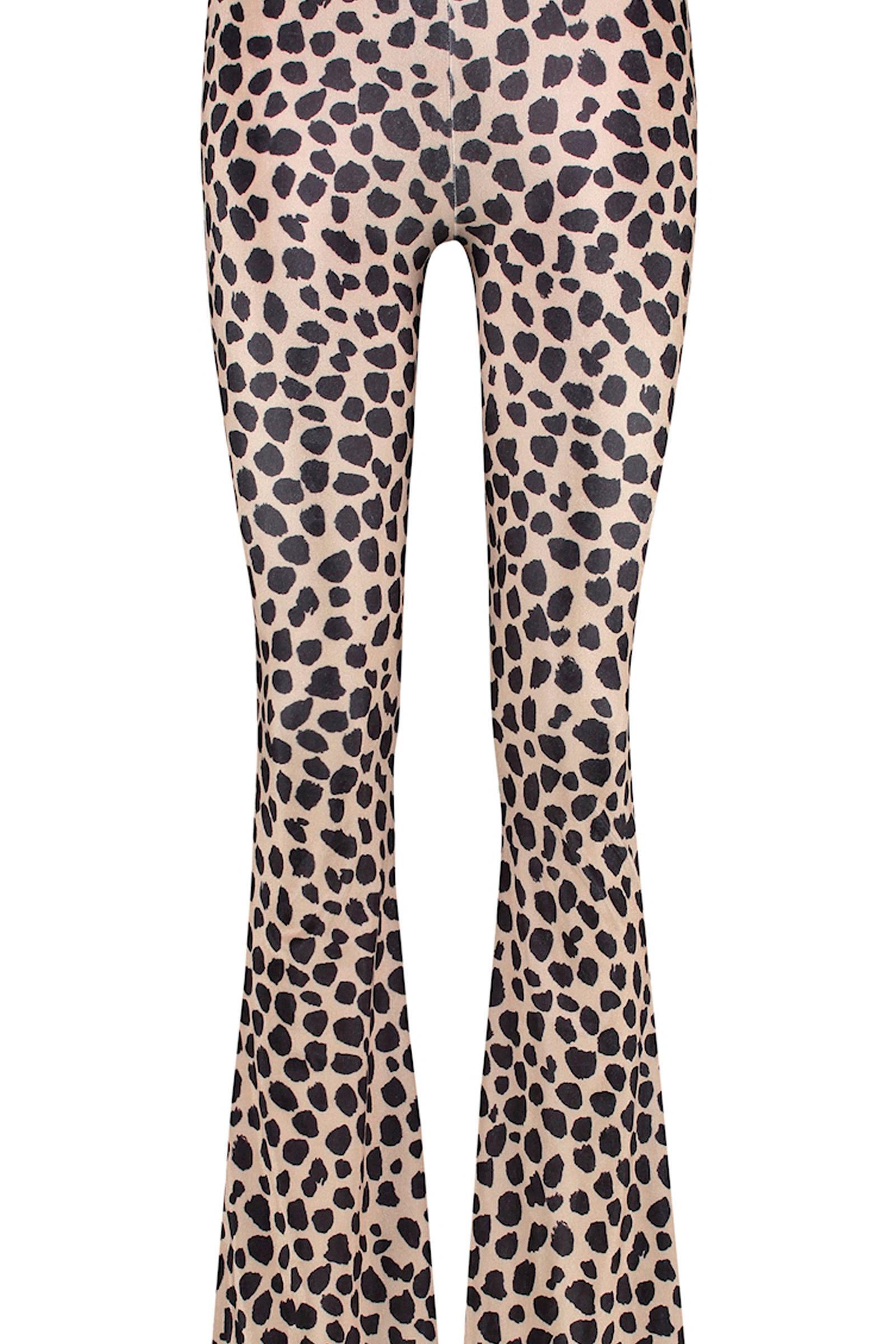 flared broek Leopard clash met dierenprint beigezwart