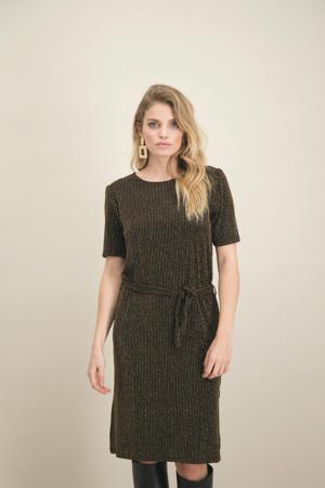 gestreepte jersey jurk zwart/goud