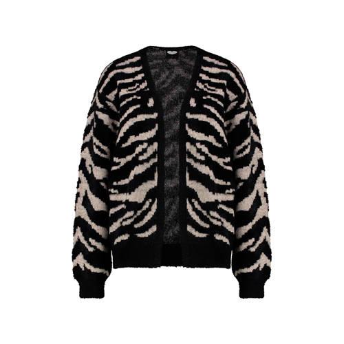 Catwalk Junkie vest met zebraprint zwart/beige