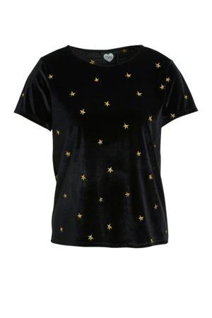 fluwelen T-shirt met all over print zwart/goud