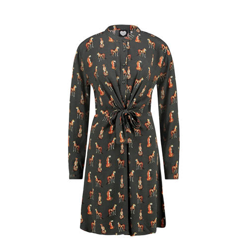 Catwalk Junkie blousejurk met all over print olijf