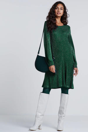 jersey jurk met glitters groen