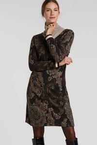 Cream jurk met contrastbies en glitters bruin, Bruin