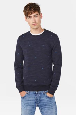Blue Ridge sweater met all over print donkerblauw